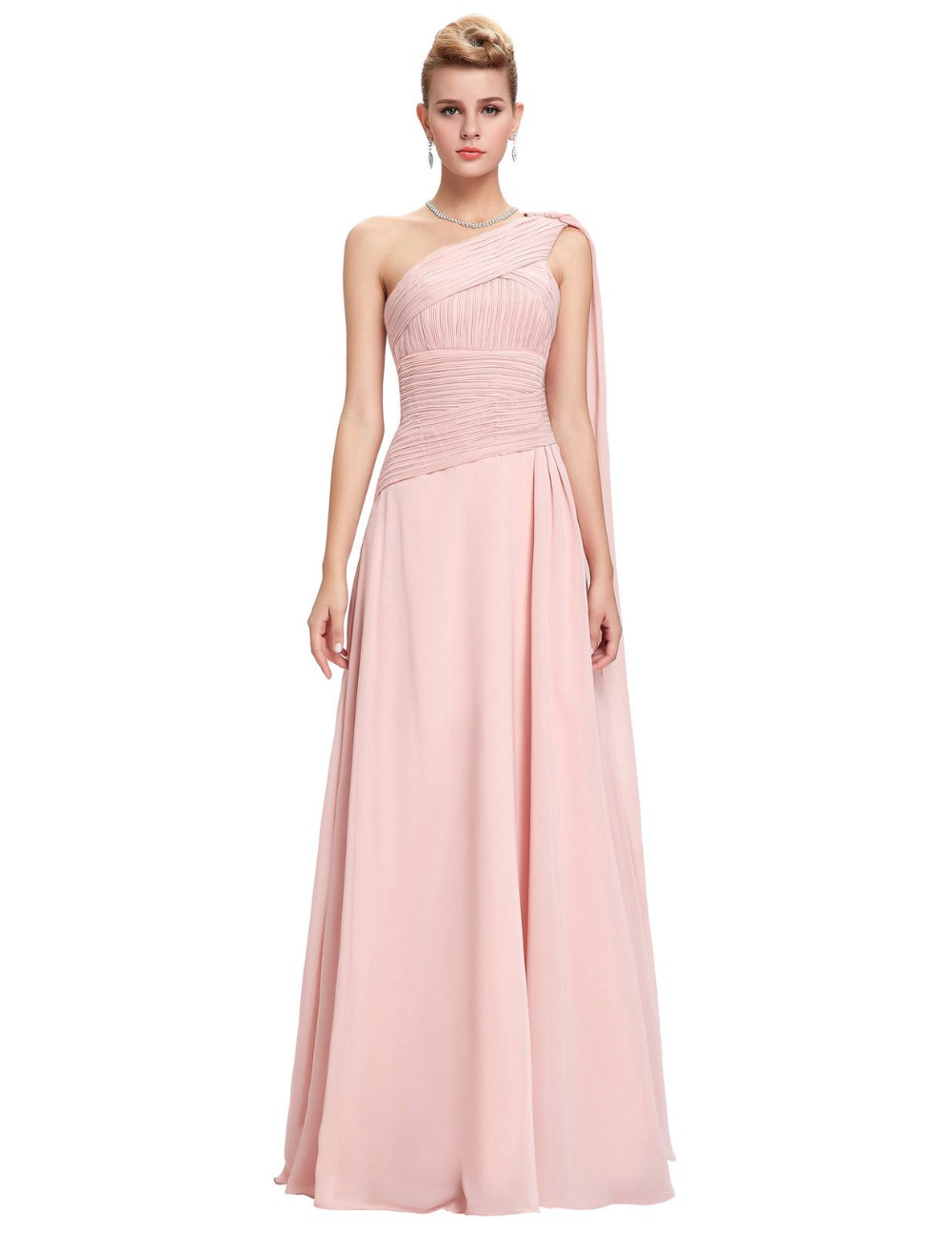 Blush rosa vestidos de dama de grace karin de un hombro vestido de ...