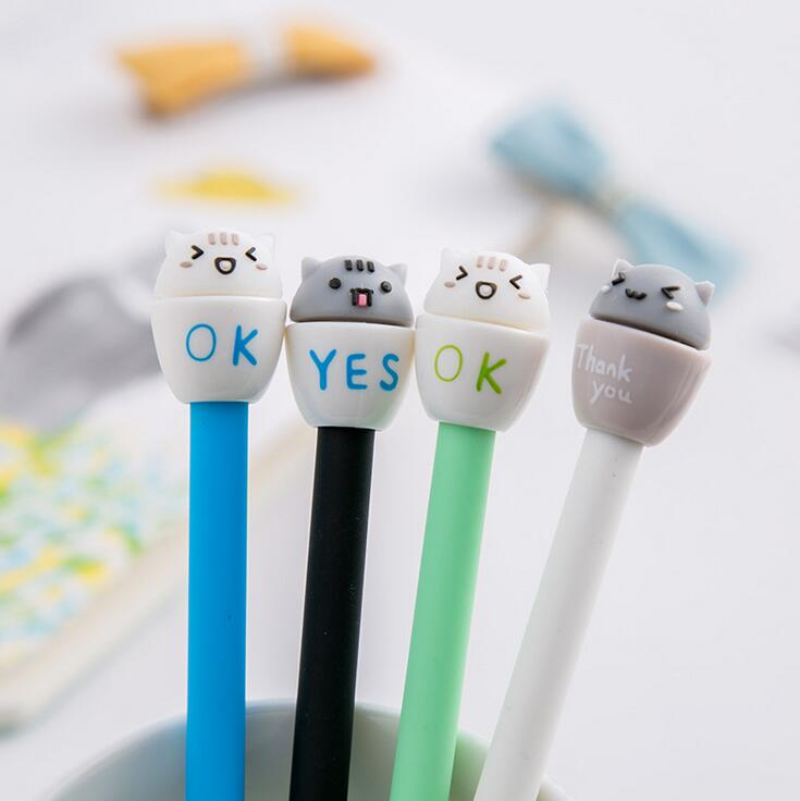 4pcs/lot 0.5mm Happy Cup Pet Gel Ink Pen Promotional Gift Stationery School & Office Supply