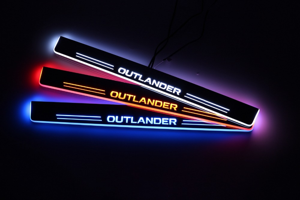 WOOBEST Waterproof Ultrathin Acrylic LED door sill for Mitsubishi outlander 2007-2016 Led moving door scuff plate, Pathway light woobest acrylic led door sill for jaguar xf 2010 15 jaguar xj xjl 2010 15 led moving door scuff plate pathway light