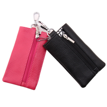 High Quality Housekeeper Holders Square Detachable Key Chain Wallet Hasp Women Men Purses Cool 9 Solid Color Leather Key Wallet