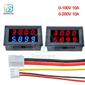 1PCS 0.28'' 0.28 inch DC 0-100V 0-200V 10A Voltmeter Ammeter Red+Blue /Red+Red LED Amp Dual Digital Volt Meter Gauge LED Display brand new 2 in 1 car 12v universal red green dual display led dual digital thermometer temperature meter voltmeter