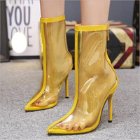New pointy PVC transparent stiletto booties sexy chic women's boots nude boots