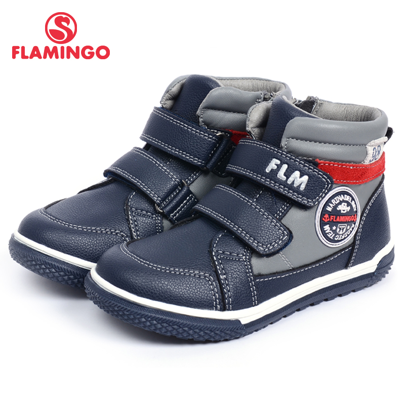 FLAMINGO Autumn Warm Zip& Lace-Up Fashion Leather Boot High Quality Anti-slip Kid Shoe For Boys Size 26-31 Free Shipping W6XY142