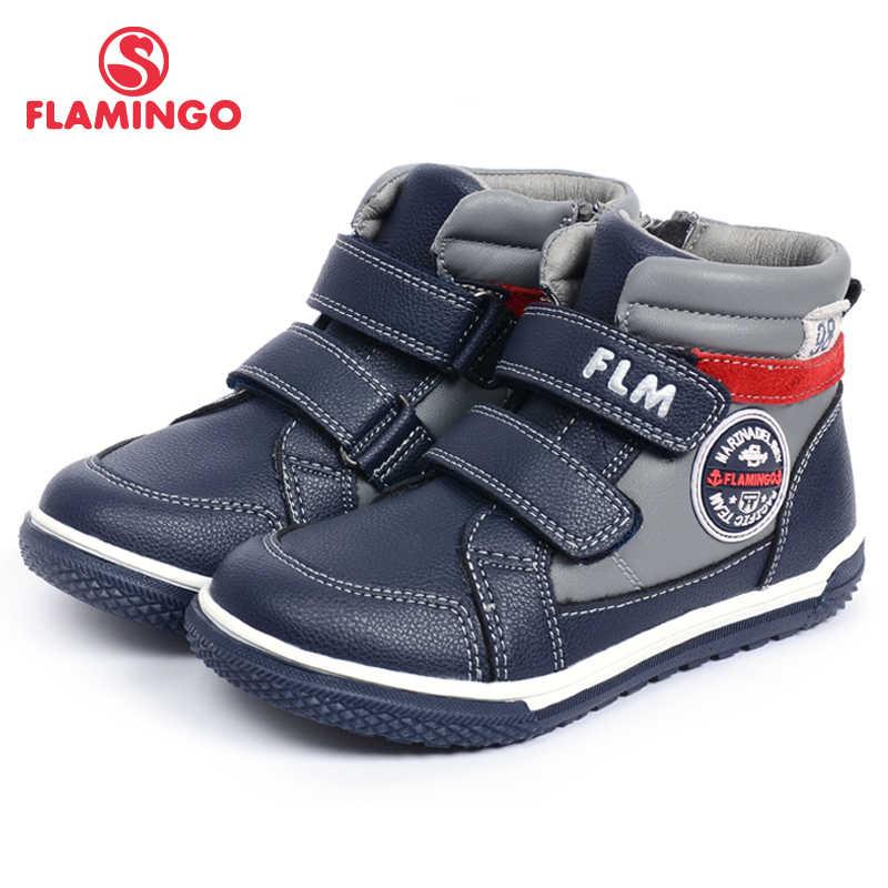 FLAMINGO Herfst Warm Zip & Lace-Up Mode Lederen Laars Hoge Kwaliteit Anti-slip Kid Schoen voor Jongens maat 26-31 Gratis Verzending W6XY142