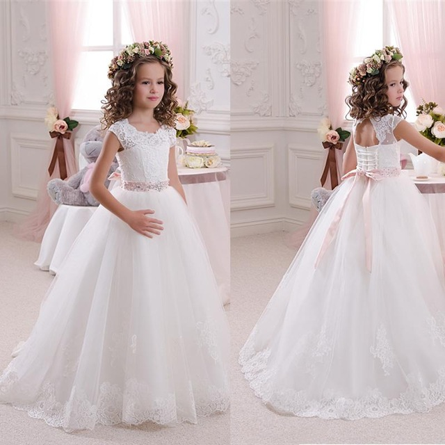 Hot Pretty Scoop Ivory/ White Lace   Flower     Girls     Dresses   2016 Ball Gown Belt Floor Length   Girls   First Communion   Dress   Party   Dress