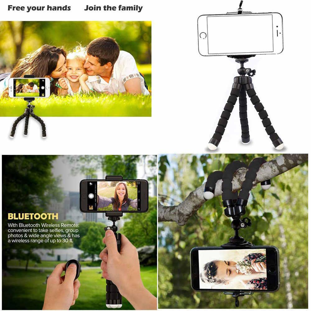 Nirkabel Bluetooth Remote Mini Fleksibel Spons Gurita Tripod Selfie Ponsel Stand Holder untuk iPhone Android Kamera Braket