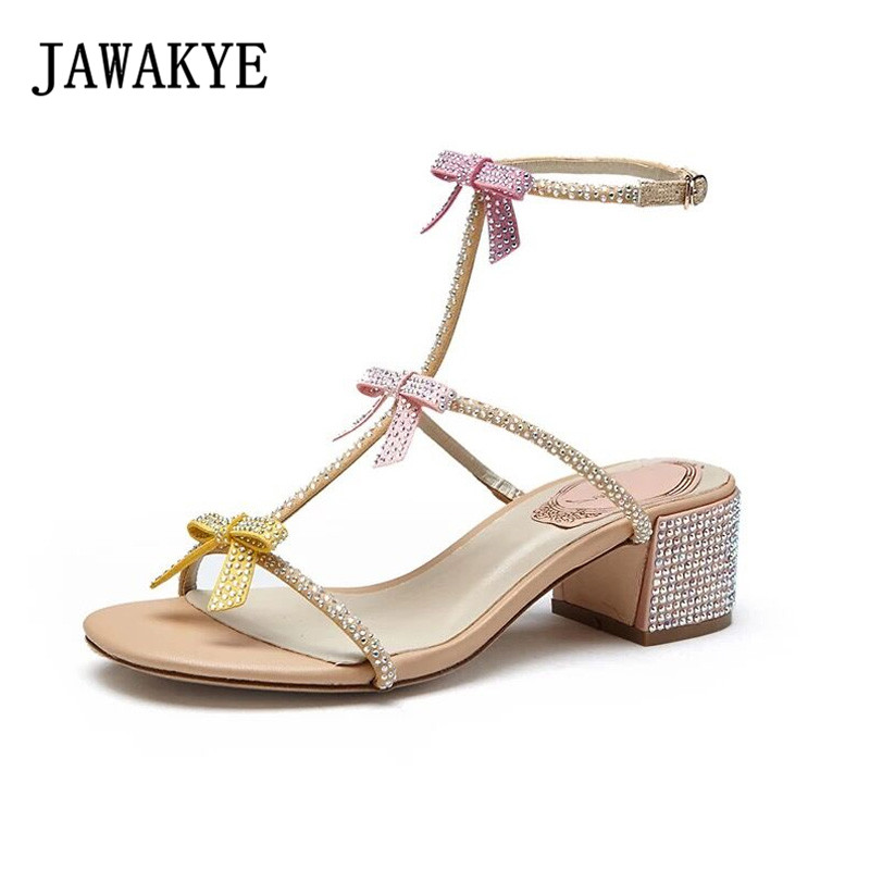 JAWAKYE Crystal Sandals Shoes Woman Chaussures Femme Square High Heels Sandals Soft Leather Bowknot Sweet Shoes Sandalias Mujer sweet girl s sandals with bowknot and velcro design