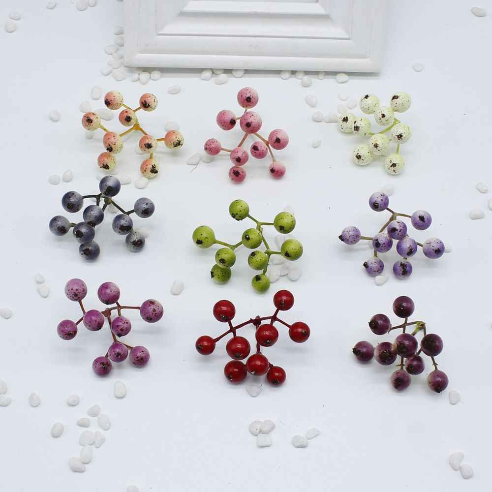 High quality hot Fake fruit small berries stamens artificial flowers multicolor pearls cherry wedding christmas decoration
