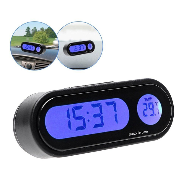 Small 2 In 1 Led Digital Car Clock Thermometer Temperature Auto Lcd