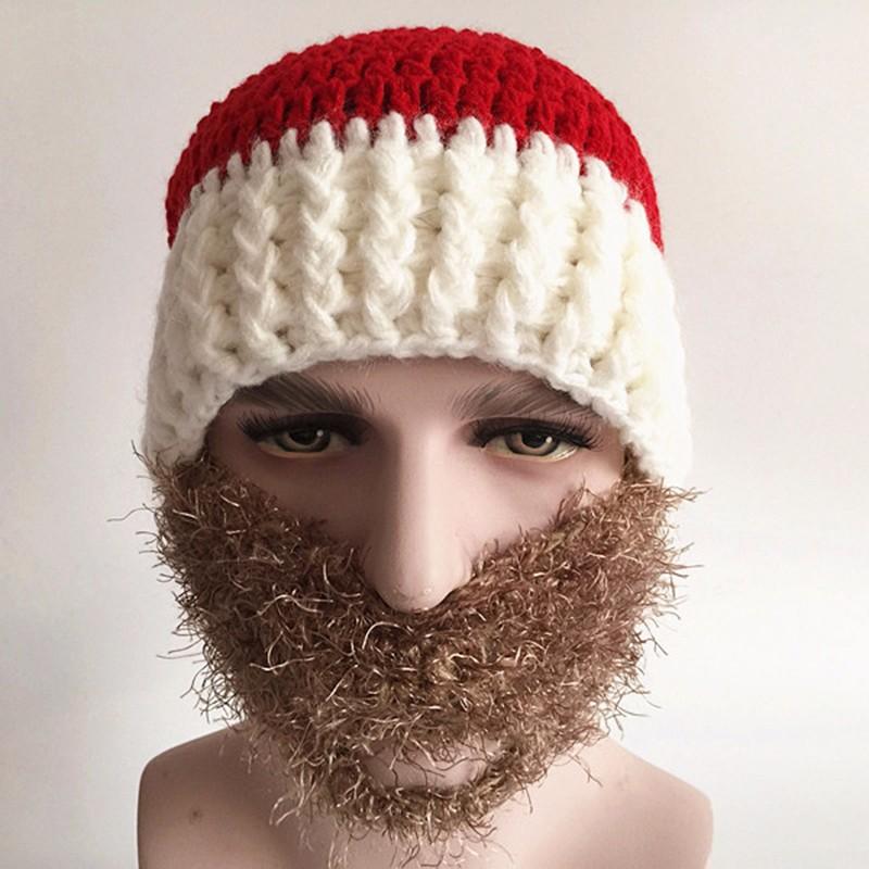 2016 Adult Crochet Knit Beanie Santa Claus Handmade Knitted Hat Hot Fashion Bearded Cap Women Men Christmas Gifts Accessories (4)