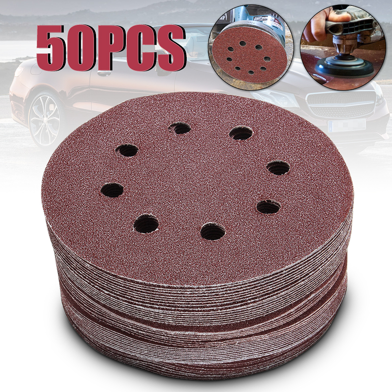Freeshipping 50pcs/set 5 8 Hole 80/120/180/240/320 Grit Sanding Disc Random Orbit Hook Loop Sander Sand Paper Discs Set Grit цена