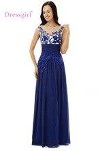 Dressgirl Royal Blue Abendkleider 2017 A-line Kappen-hülsen Chiffon Stickerei Wulstige Lange Abendkleid Abendkleid Abendkleid
