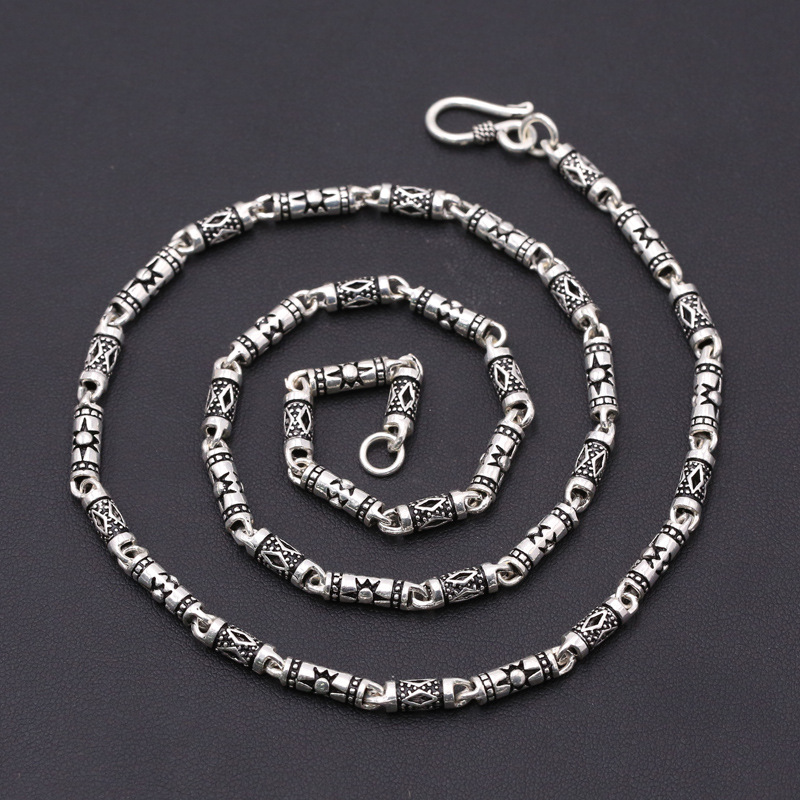 FNJ 4mm Bamboo Chain Necklaces 925 Silver 45cm to 60cm Fashion Original S925 Thai Silver Women