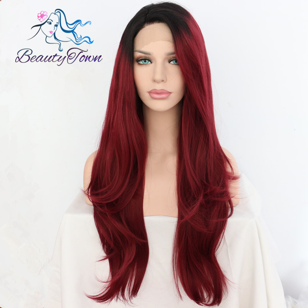 BeautyTown Black Ombre Red Heat Resistant Hair Natural Wave Type Hand Tied Perruque Synthetic Lace Front