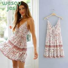 Mini dress floral print sexy deep v-neck sleeveless strap summer dresses hippie boho women dress Sexy Pink Short Beach Dress white random floral print v neck sleeveless mini dress