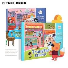 Finger Rock transferencia DIY lindo impermeable tatuajes temporales pegatina juguete de la historieta niños tatuajes temporales libro