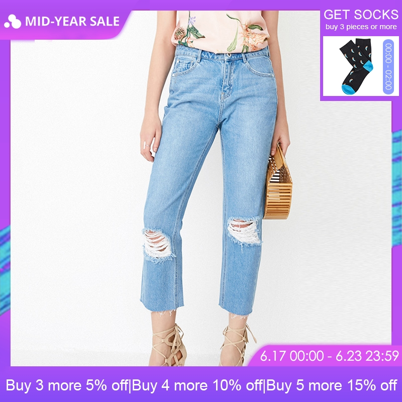 ONLY Women's Spring & Summer Raw-edge Rips Crop   Jeans   |118149626