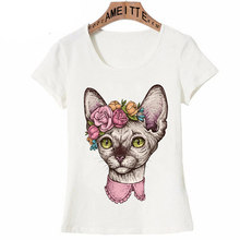 New Fashion Women Short Sleeve Cute Sphynx Cat Head With Flowers Tattoo T-Shirt Funny Kitte Design Casual Tops Cute Girl Tees(China)