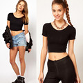 2016 Hot Short Sleeves Tops Sexy Women Basic Tees Cropped Tops Fashion Slim Brand Fitting Tank Tops Corset Clubwear Blusa #OR