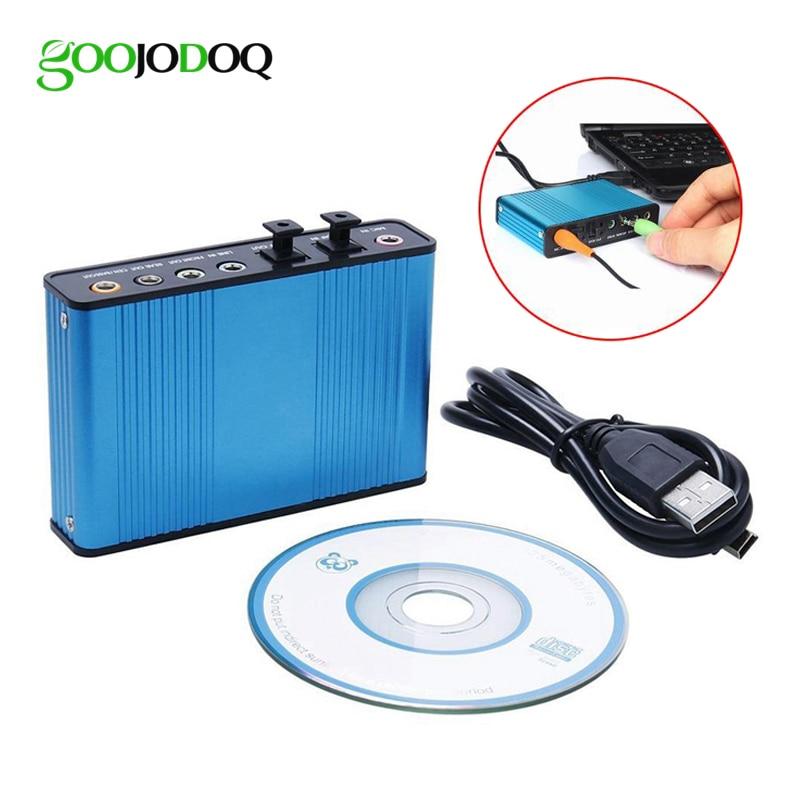 GOOJODOQ Professional USB Sound Card 6 Channel 5.1 Optical External Audio Card Converter CM6206 Chipset for Laptop Desktop