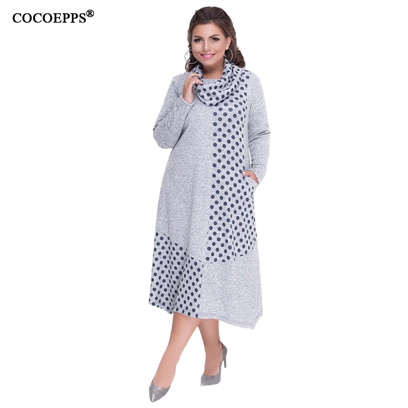 COCOEPPS Plus Sizes Autumn Women Dresses 2019 Winter Large Size Loose Dress Female Long Big Size Dress Women Clothings 5XL 6XL