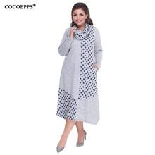 1271ca3507 COCOEPPS Plus rozmiary jesień kobiety suknie 2019 zima duży rozmiar luźna sukienka  kobiet długi duży rozmiar sukienka kobiety ub.