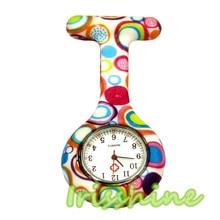Irissshine #7019 Colored Circles Nurse Clip-on Fob Brooch Pendant Hanging Pocket Watch Gift