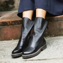 VALLU 2019 Natural Leather Women Boots Mid Calf Back Zip Squ
