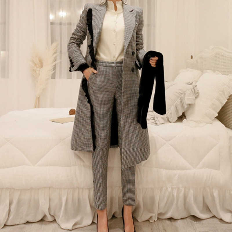 Double Photo Professionnel Long Pantalon Color Tz004 pièce Laine breasted Femmes Poule 2019 Mode Nouvelles Deux Manteau Tempérament Ol Ensemble p0RW0Tg