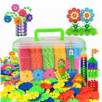 100 stücke Kinder Kind Baby Spielzeug Multicolor Bausteine Schneeflocke Kreative Bildungs Bau Kunststoff Spielzeug