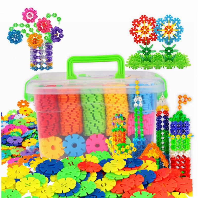 100pcs Children Kid Baby Toys Multicolor Building Blocks Snowflake Creative Educational Construction Plastics Toys