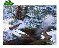 5D Diy Diamond Drawing Animals Duck Snow River Oil Painting By Number Cross Stitch Sewing Art