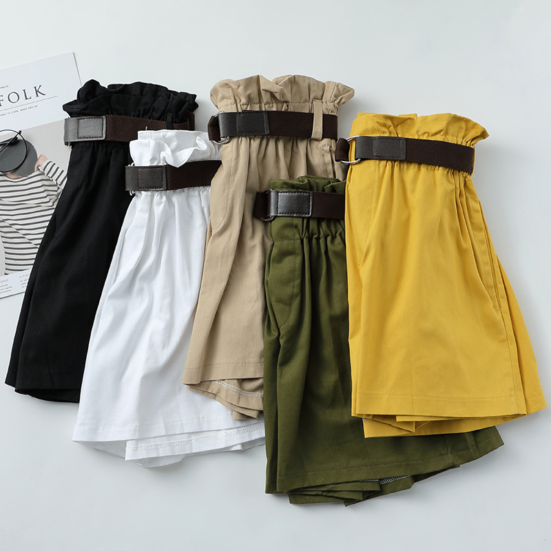 Korean Simple Solid Summer   Shorts   With Belt 2019 Loose High Waist Slim loose Green   Shorts   women Black Paperbag   Shorts