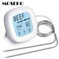 2 프로브 moseko 터치 스크린 오븐 온도계 주방 요리 음식 고기 오일 프로브 그릴 바베큐 타이머 백라이트 디지털 온도계
