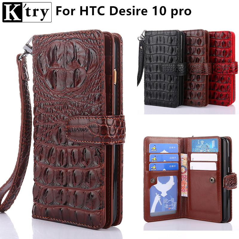 K'try Wallet Case for HTC Desire 10 pro Luxury Crocodile Pattern Pu leather for HTC 10 pro Flip Cover Case