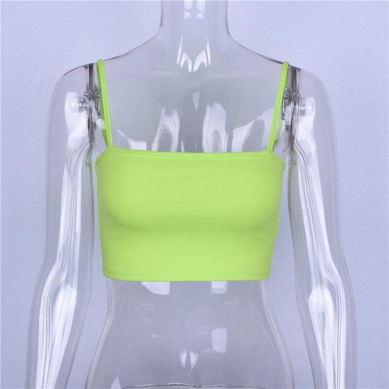 Hugcitar cotton spaghetti straps slash neck sexy crop tops 2018 summer women fashion camis