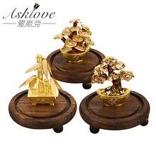24k folha de ouro dinheiro árvore feng shui bonsai planta artificial ornamento fortuna árvore luxo presentes do negócio decoração para casa celebração