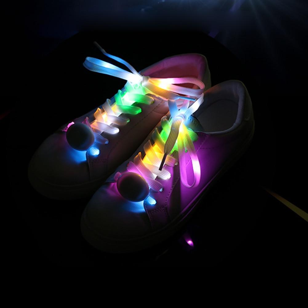 1 Pair LED Flash Luminous Nylon Shoe Laces Party Skating Running Disco Shoelace