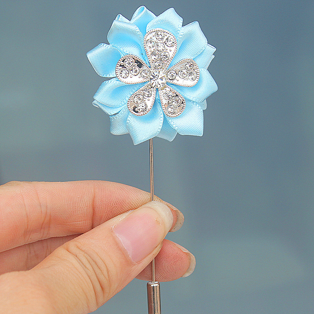 8piecelot Whoesale Baby Blue Wedding Men Boutonniere Handmade Ribbon Rose Flower Party Prom Man Suit Corsage Pin Brooch XH1902