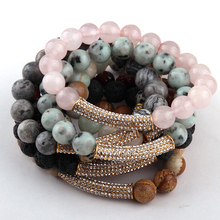 Free Shipping New Design Fashion Beautiful 10mm Stones Bead Crystal Bracelets(China)