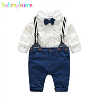 2Piece Spring Fall Newborn Clothes Sets Long Sleeve Cotton Gentleman Bow Rompers+Pants Infant Boys Clothing Baby Outfits BC1814