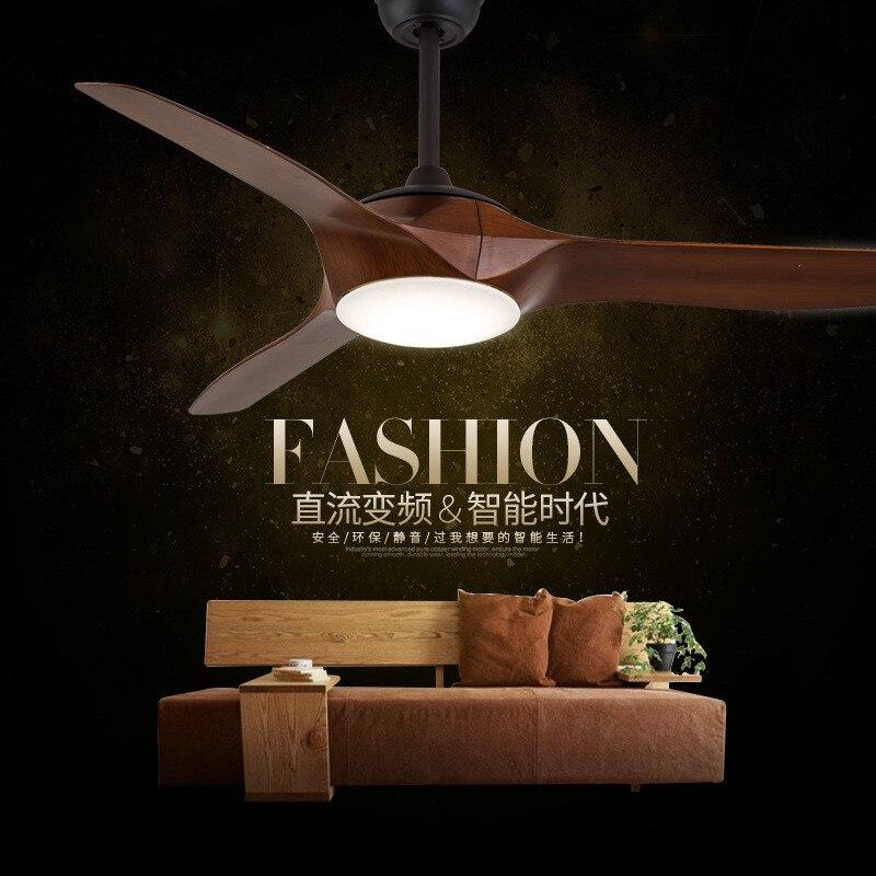 DC Ventilateur de Plafond lumières Simple Moderne Café Restaurant Ventilateur Lampe Nordique Salon Télécommande LED Lumière Ventilateur Livraison Gratuite