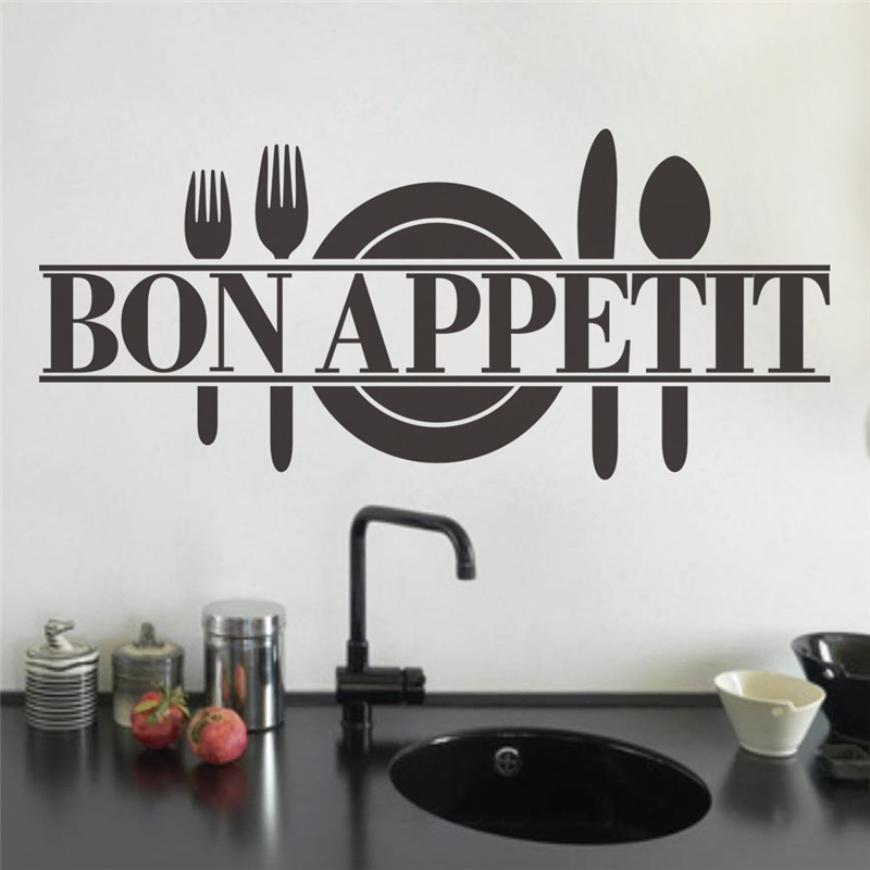 Modern Bon Appetit French Kitchen Restaurant Vinyl Stickers Knife And Fork Spoon Wall Art