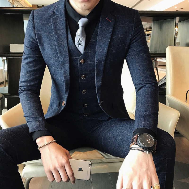 (ジャケット + パンツ) 2019 春と夏新メンズ結婚式のファッションブティックグリッドビジネスレジャースーツ男性スマートカジュアルスーツ