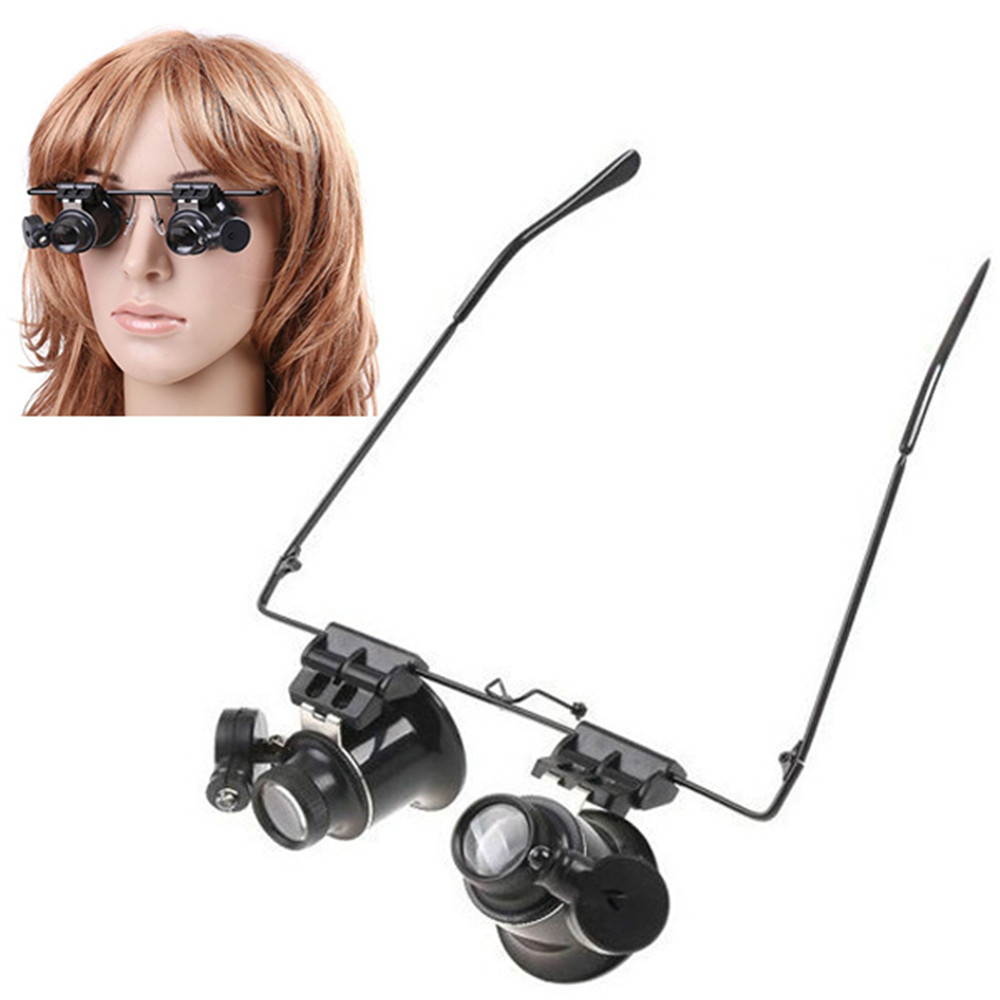 Sales 20X Magnifier Magnifying Eye Glasses Loupe Scope with 2X LED Light for Electronics Watch Repair, Free Shippng