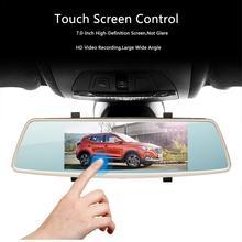 7,0-дюймовый зеркало заднего вида вождения Регистраторы HD ночного двойные линзы круговое видео спереди и сзади двойной Запись Реверсивный изображения