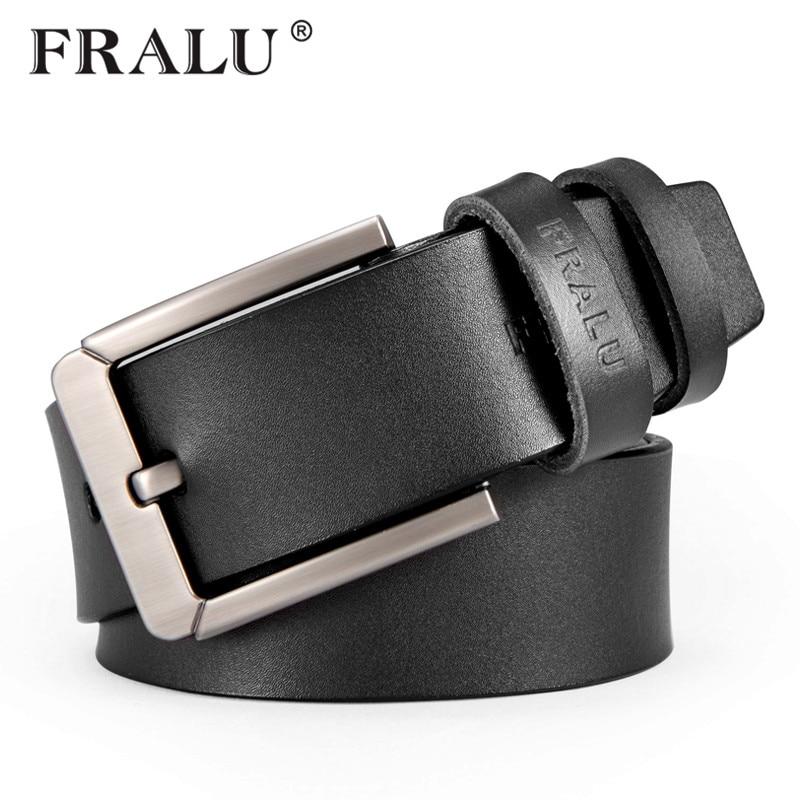 FRALU New fashion cowhide genuine leather   belt   men black jeans strap male vintage casual men   belts   cinto ceinture homme