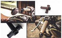 7/8'' Motorcycle Handlebar Hand Grips Bar End 1 Pair For Cafe Racer Triumph Bonneville T100 SE Scrambler Thruxton