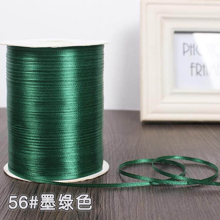 3 мм шелковые атласные ленты Рождество Хэллоуин Детский душ день рождения упаковка для свадебного подарка белый синий розовый зеленый фиолетовый ленты - Цвет: Dark Green