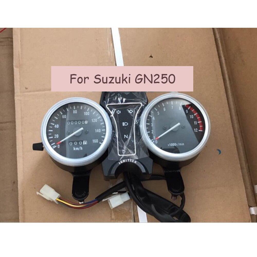 para suzuki gn250 tacometro eletrico odometro instrumento da motocicleta speedo velocimetro kit de montagem velocimetro calibre